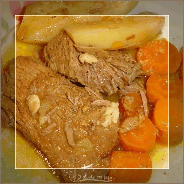 Μοσχαράκι Λεμονάτο με Πατάτες και Καρότο